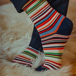 Chaussettes coton fil d'écosse bio à rayures