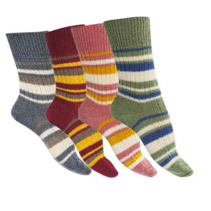 Chaussettes sans couture mohair rayures multicolores - Missègle: chaussette sans couture