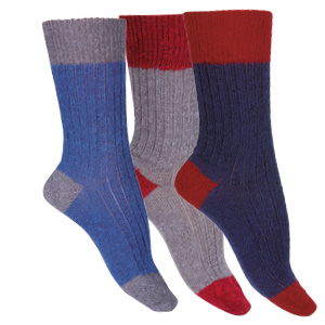 Chaussettes sans élastique laine mohair bicolores