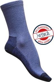 Chaussettes sans couture Mérinos et soie ultra-solides