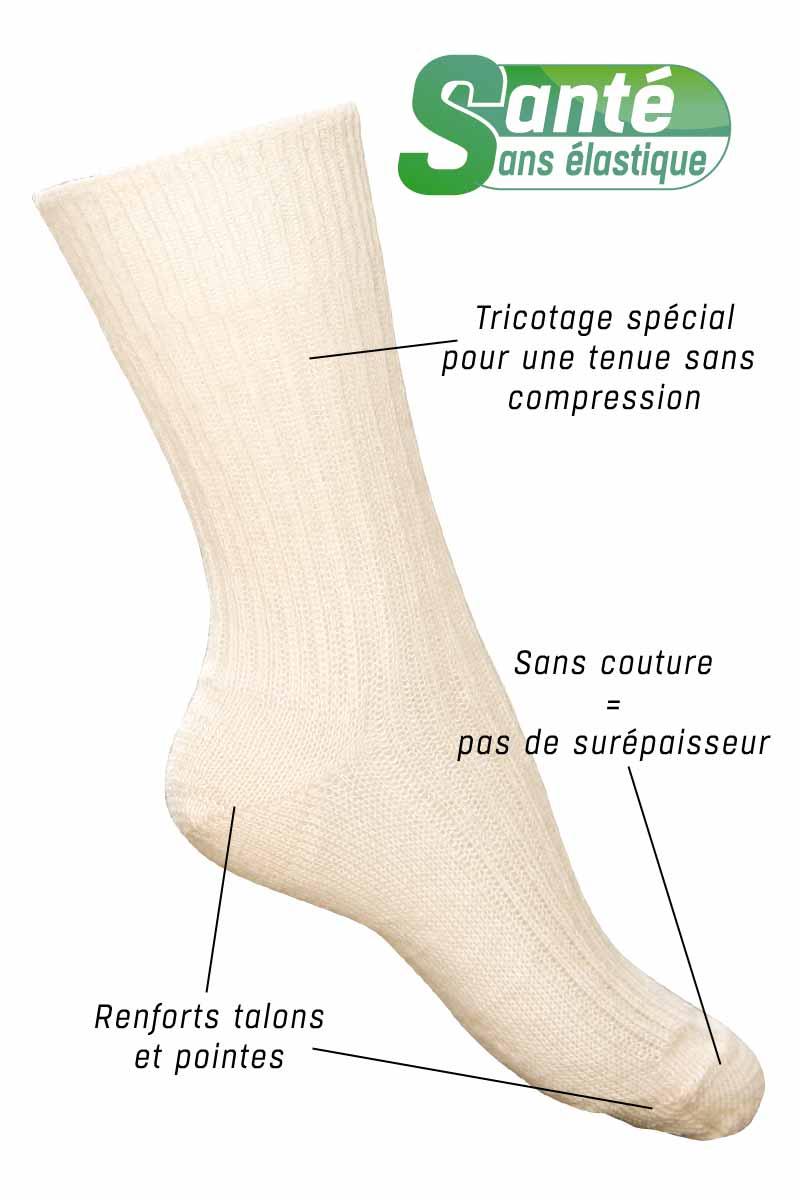 Chaussettes sans élastique laine mohair