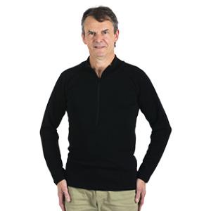 Chemise Laine Mérinos col zippé Hommes Grandes tailles