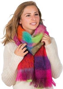 Grande echarpe laine mohair et soie écossaise