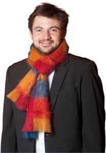 Grande echarpe laine mohair et soie Homme écossaise