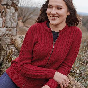 Blouson laine zippé long