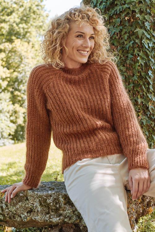 Pull laine côtes perlées