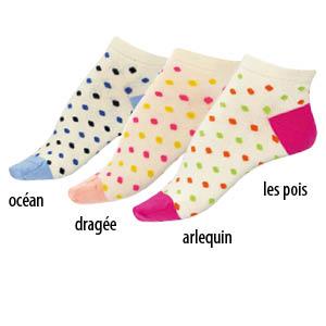 Socquettes coton peigné à pois Bonnes affaires