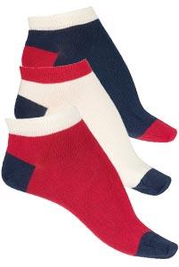 Socquettes coton peigné tricolores Bonnes affaires