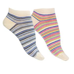 Socquettes coton bio peigné Rayures Multicolores